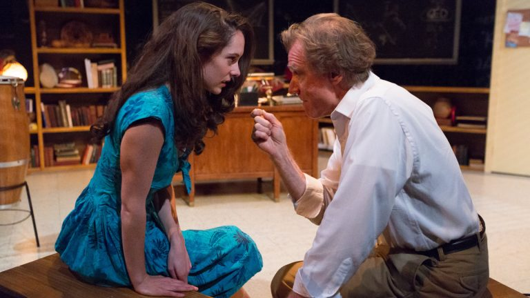 Clare Mahoney  and Peter DeLaurier in Lantern Theater Company's production of 'QED.' (Photo courtesy of Mark Garvin)