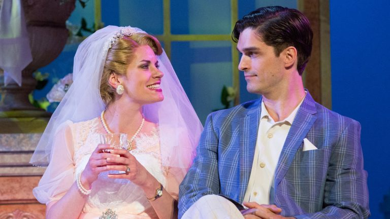 Megan Nicole Arnoldy and Paul  Schaefer in the Walnut Street Theatre production of 'High Society.' (Photo courtesy of Mark Garvin)