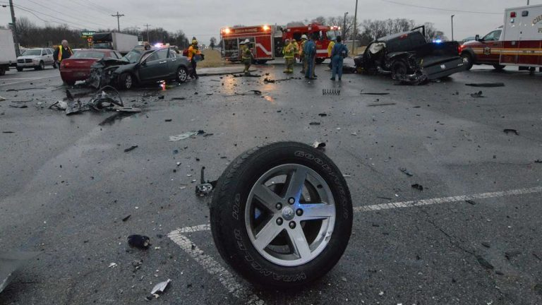 A woman was killed in this six car accident on Rt. 13 at Red Lion Rd. in Bear back in February. (John Jankowksi/for NewsWorks)