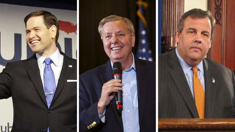 Republican presidential contenders from left: U.S. Sen. Marco Rubio (R-Fla.), U.S. Sen. Lindsey Graham Jr. (R-S.C.), and N.J. Gov. Chris Christie (AP Photo, file)
