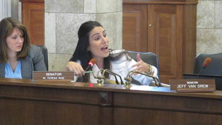 New Jersey Sen. Teresa Ruiz requests the 10 percent weighting of PARCC exams for teacher evaluations be extended for another year. (Phil Gregory/WHYY)