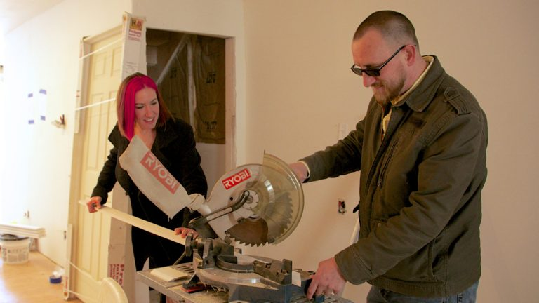 Rusty Doll and Lisa Sipes work together on their remodeling project (Nathaniel Hamilton/for NewsWorks)