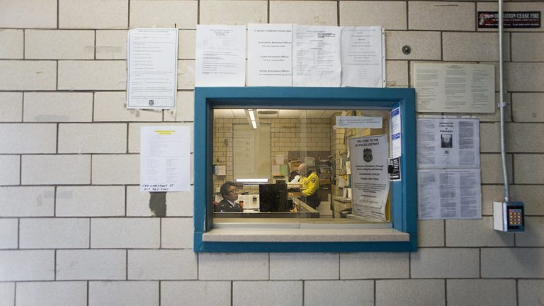 The 6th district vestibule in Philadelphia is a designated safe trade stations. (Jessica Kourkounis for Keystone Crossroads)