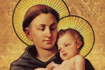 Saint Anthony of Padua, the patron saint of lost things and lost souls, is often depicted in iconographic artworks as holding the baby Jesus. (Image courtesy of the <a href=