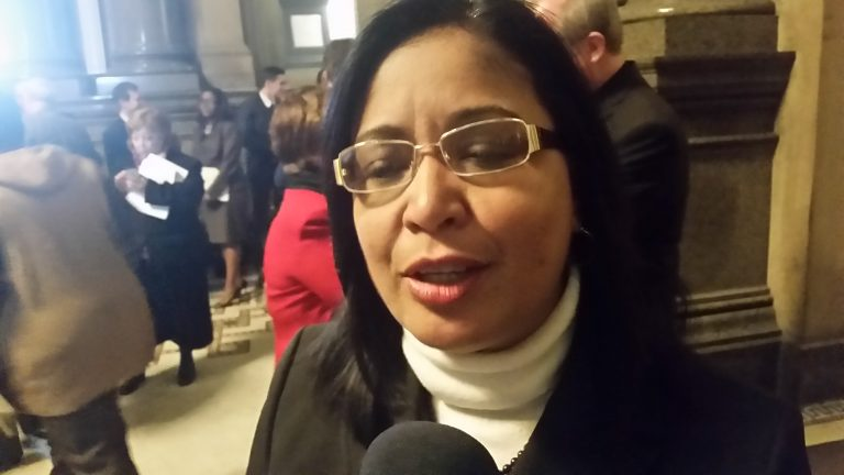 Councilwoman Maria Quiñones-Sánchez is seeking a third term without the backing of Philadelphia's Democratic Party. (Tom MacDonald/WHYY)