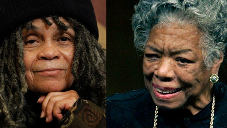 Philadelphia poet laureate Sonia Sanchez (left) and Maya Angelou (AP Photos by Matt Rourke and Chuck Burton)
