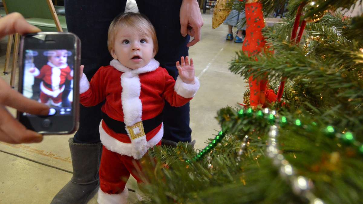 Ten-month-old Ben Mayers is impressed with the Christmas tree at Saturday's Breakfast With Santa event at Falls Presbyterian Church. (Rikard Larma/for NewsWorks)