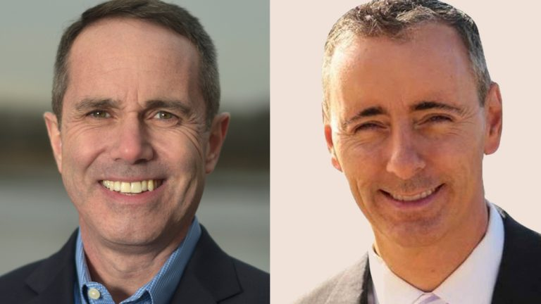 Pennsylvania's 8th  Congressional District candidates Democrat Steve Santarsiero (left) and Republican Brian Fitzpatrick. (Photos from candidates' websites)