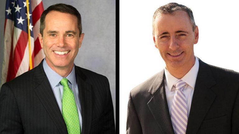 Democrat Steve Santarsiero (left) and Republican Brian Fitzpatrick (right) are facing off in Pennsylvania's 8th Congressional District