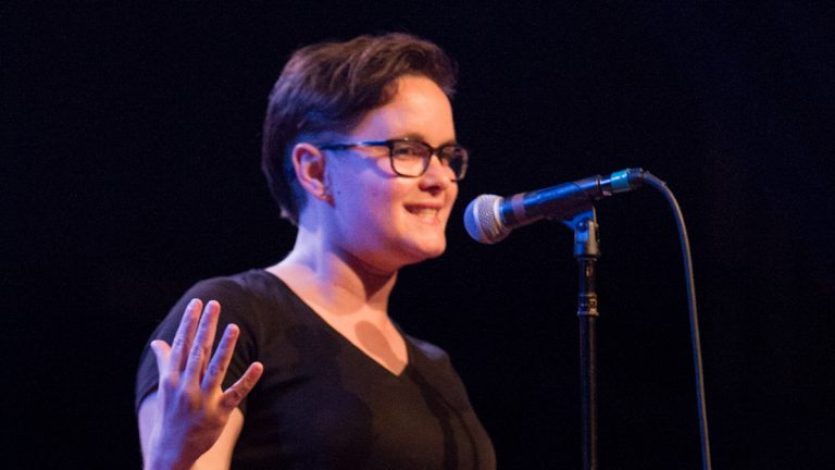 Sara Ray's tale of growing up in rural Maine was the audience favorite at the First Person Arts Grand Slam on Thursday