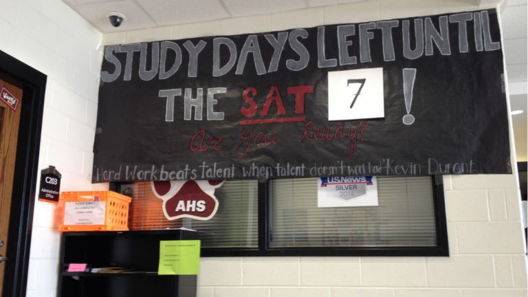 A sign at Appoquinimink High School in counts down the days until the in-school SAT. Delaware administers the SAT in every school. (Avi Wolfman-Arent