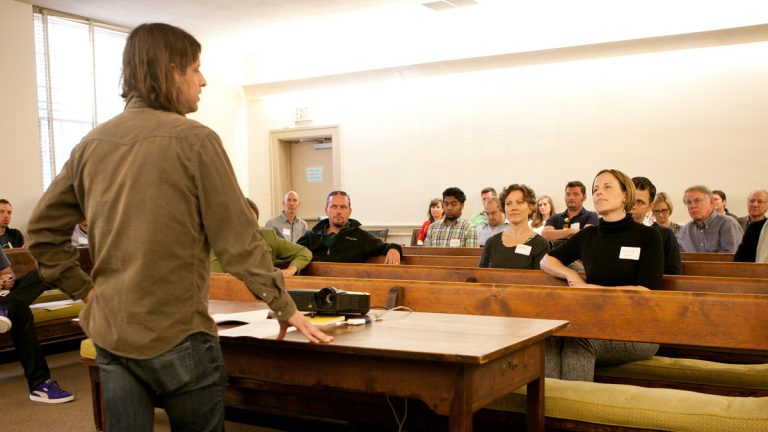 Brian McTear of Weathervane Music addresses the Junto group on the event's first day (Photo courtesy of Kevin Monko)