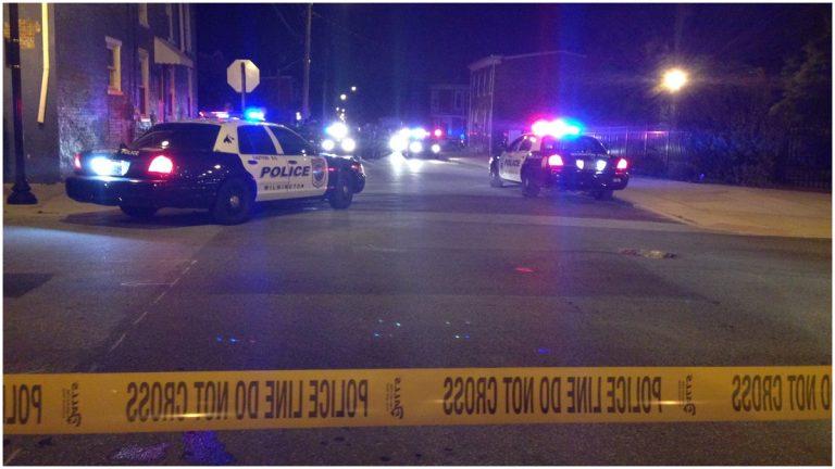 Wilmington police on scene of E. 22nd Street shooting. (John Jankowski/for Newsworks)