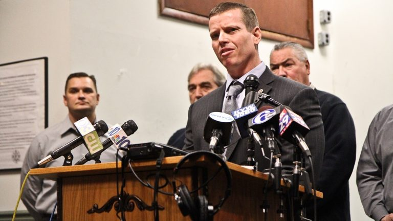 Local 22 President Joe Schulle discusses a sexual misconduct investigation by the city's Office of the Inspector General. (Kimberly Paynter/WHYY)
