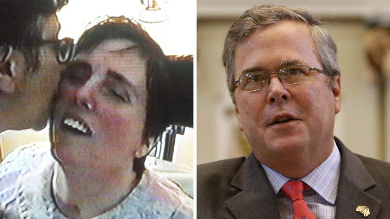 Left: Mary Schindler is shown kissing her daughter Terri Schiavo in an image taken a from videotape and released by the Schindler family in 2003. (AP Photo/Schindler Family Video, File) Right: Former Fla. Gov. Jeb Bush is shown in Oklahoma City in 2010. (AP Photo/Sue Ogrocki)
