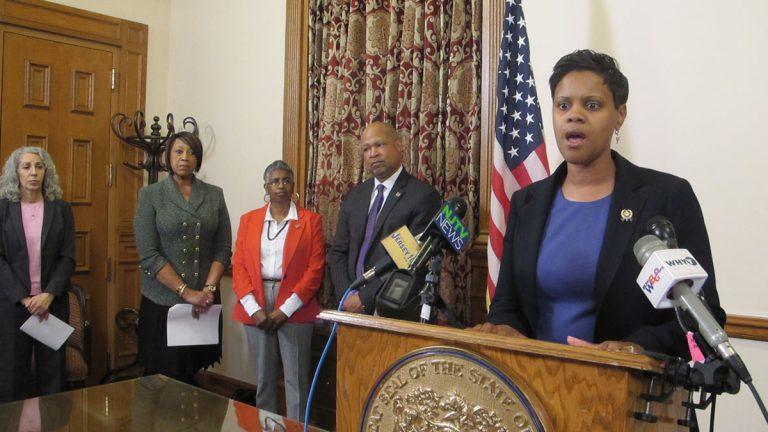 New Jersey Assembly Democrats discuss their proposal to end the stat's authority to take over school districts. (Phil Gregory/WHYY)