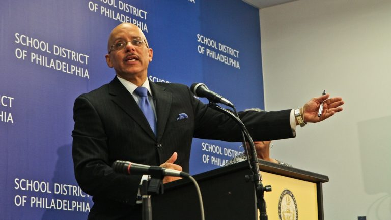 Pennsylvania State Sen. Vincent Hughes of Philadelphia and other senators held a press conference at school district headquarters Thursday morning to present new methods to fund education. (Kimberly Paynter/WHYY)