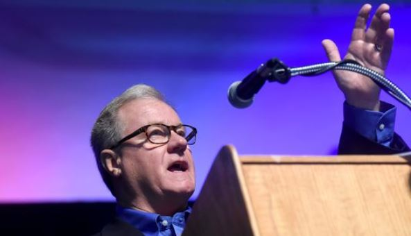 State Sen. Scott Wagner addresses the crowd during a Veterans Day breakfast held at the York Expo Center in November. Wagner expanded Pennsylvania's latest