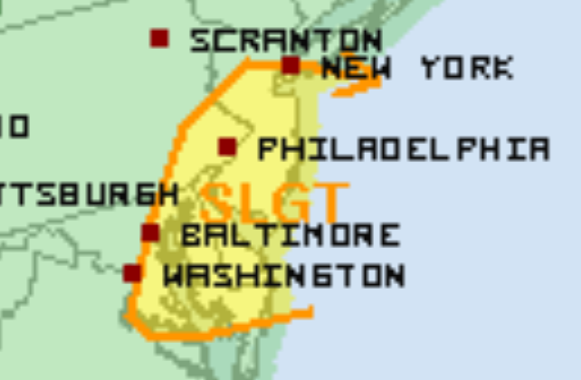 National Weather Service's Storm Prediction Center map indicating a slight risk of severe thunderstorms for the entire area.