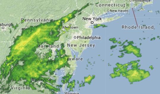 10 a.m. radar image via Weather Underground.