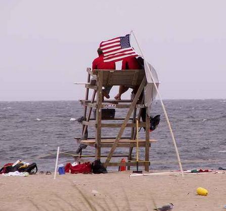 Bradley Beach lifeguards scanning the ocean in July 2007. (Photo: sister72 via Flickr)