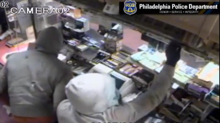 The unknown burglars left Lee's Steaks and Hoagies with more than $2,500 in cash and a bunch of cigarettes. (Photo courtesy of Philadelphia Police)