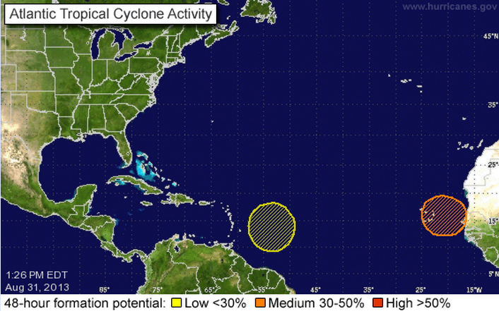 There are two areas in the Atlantic basin that NOAA is watching for potential tropical cyclone development. (Source: National Hurricane Center)