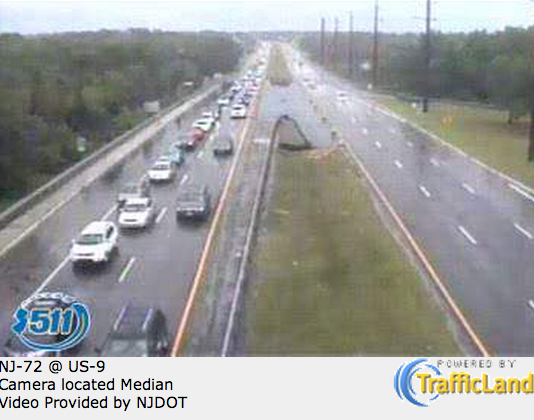 A webcam shot of motorists heading away from Long Beach Island on Route 72 in Stafford at 1:35 p.m. today. (Image:  511nj.org)