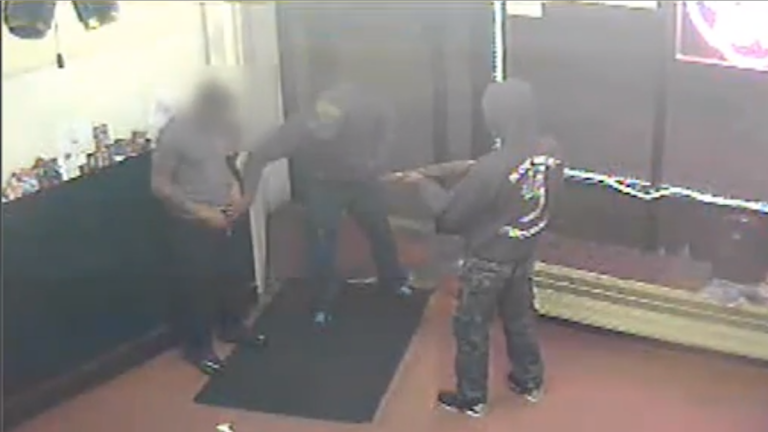 Surveillance footage of the robbery which led to a shooting. (Courtesy of Philadelphia Police)