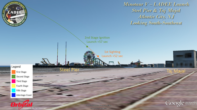 The Minotaur V LADEE spacecraft launch trajectory view from Atlantic City, NJ around 11:30 p.m. Friday evening. If you live along the Jersey Shore, look toward the south-southeast.