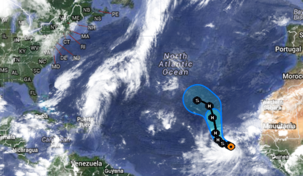 Tropical Storm Humberto's expected track five-day track. (Image: National Hurricane Center)
