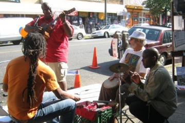 At last year's Park(ing) Day, Quincy Stallworth led a Chelten Avenue jam session. (Alaina Mabaso/for NewsWorks)