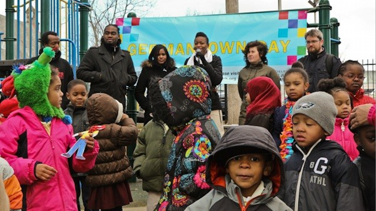 At an April event which featured dancing preschoolers, folks hoped for a months-long celebration of Germantown's upcoming 330th birthday that would never be. (Kimberly Paynter/WHYY)