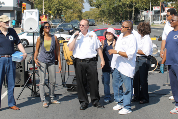 Capt. John McCloskey addressed the crowd at the 2012 Unity Day. A year later, community-group leaders say his approach to the job is sorely missed. (NewsWorks, file art)