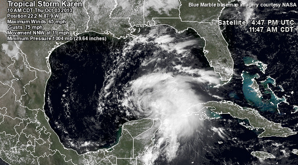 Tropical Storm Karen at 10:00 a.m. CDT today. (Image: Weather Underground)