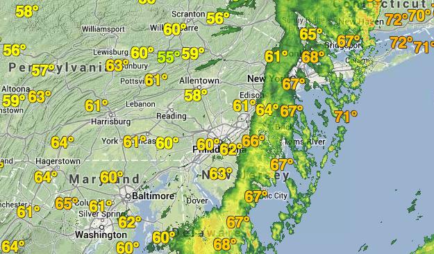 Radar imagery at 5:55 p.m. Monday. (Image: Weather Underground)