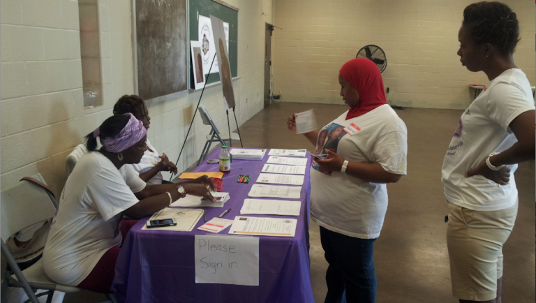 Members of Rose's Journey domestic-violence awareness group performed outreach at Sayre-Morris Recreation Center in West Philadelphia. (Photo courtesy of Rose's Journey)