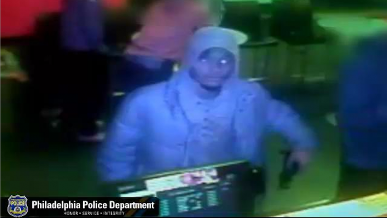 Surveillance footage of a gunman who fled a West Oak Lane Pizza Hut after seeing the cash register was empty. (Courtesy of Philadelphia Police)
