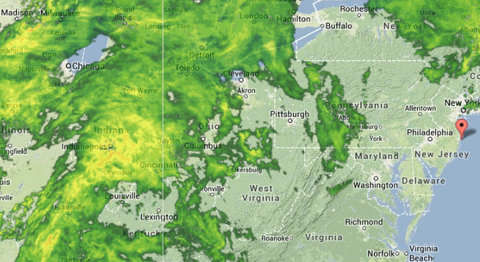 A Weather Underground radar image at 1:35 p.m. today.