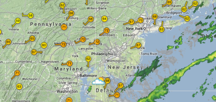 Current area conditions as of 4:14 p.m. today. (Image: weatherunderground.com)