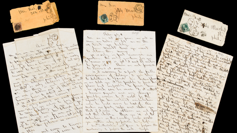 Rare finds, three of 23 ransom letters from an 1874 kidnapping that will be auctioned off on Nov. 14. (Image courtesy of Freeman's)
