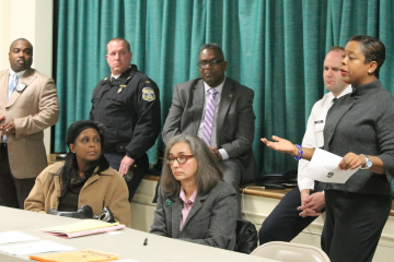 At Monday night's meeting, Eighth District Councilwoman Cindy Bass pledged city support for upstart neighborhood-watch groups. (Matthew Grady/for NewsWorks)