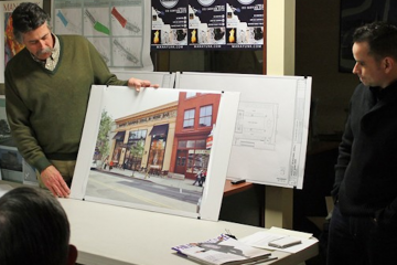 At a meeting in March,  David Kleckner and Dave Magrogan (right) shared details of Harvest, the yet-to-open restaurant envisioned for Main Street in Manayunk. (Matthew Grady/for NewsWorks)