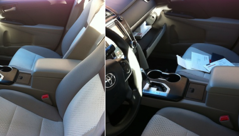 A Before-and-After shot of the Great Car 'Break-In' of 2013. (Solomon Jones/for NewsWorks)