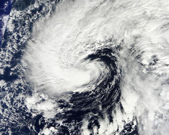 Subtropical Storm Melissa at 8:30 am EST on November 18, 2013. (Image: NASA)