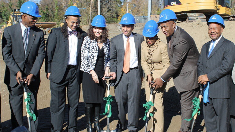 On Monday, officials broke ground for Wissahickon Charter School's new Awbury Campus on Monday. (Matthew Grady/for NewsWorks)