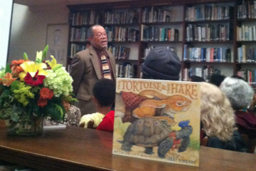 Author and illustrator Jerry Pinkney spoke at Germantown Friends School's inaugural Community Writers Series event on Wednesday night. (Laura Benshoff/for NewsWorks)