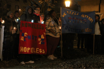 At Thursday night's Sleep Out event, a candlelight vigil memorialized approximately 40 former Covenant House residents who lost their lives to the ravages of the streets. (Matthew Grady/for NewsWorks)