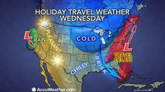 Travel days are possible along the Eastern Seaboard next Wednesday, the busiest travel day of the year. (Image: AccuWeather.com)