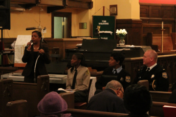 Eighth District City Councilwoman Cindy Bass speaks to residents at St. Mark's Evangelical Lutheran Church in Northwest Philadelphia. (Matt Grady/for NewsWorks)